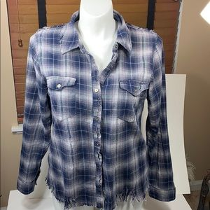 Gilded Intent. Flannel white/silver plaid top